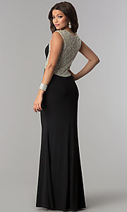 Image of long embellished-back black jersey prom dress. Style: DQ-2229 Back Image