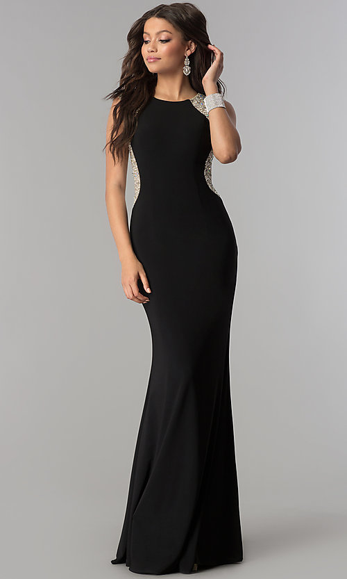 Image of long embellished-back black jersey prom dress. Style: DQ-2229 Front Image
