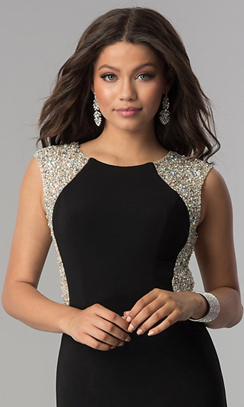 Image of long embellished-back black jersey prom dress. Style: DQ-2229 Detail Image 2