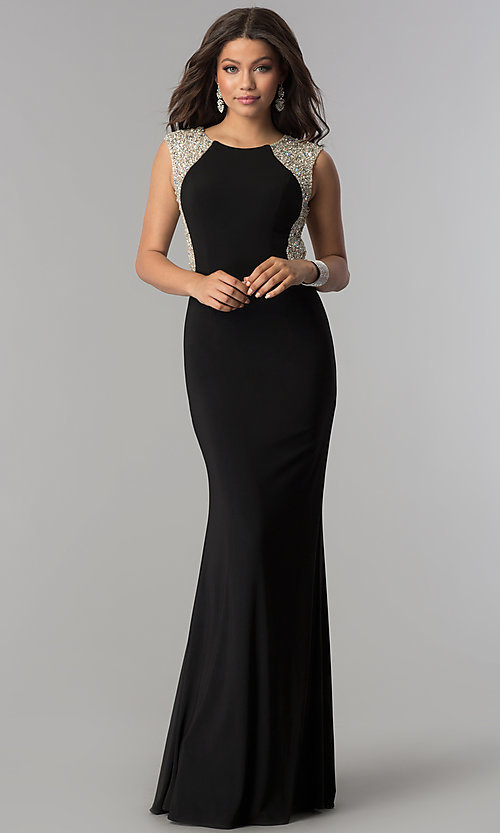 Image of long embellished-back black jersey prom dress. Style: DQ-2229 Detail Image 3