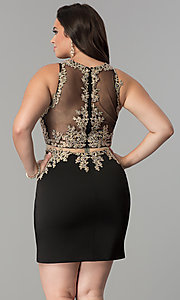 Image of mock two-piece plus-size short homecoming dress. Style: DQ-2000P Back Image