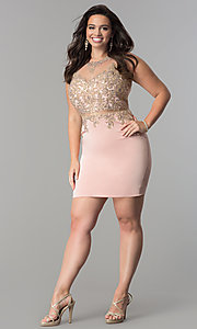 Image of mock two-piece plus-size short homecoming dress. Style: DQ-2000P Detail Image 3
