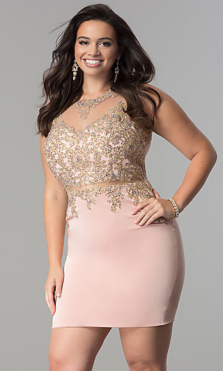Mock Two-Piece Plus-Size Short Homecoming Dress