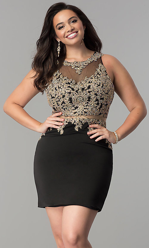 Image of mock two-piece plus-size short homecoming dress. Style: DQ-2000P Detail Image 1