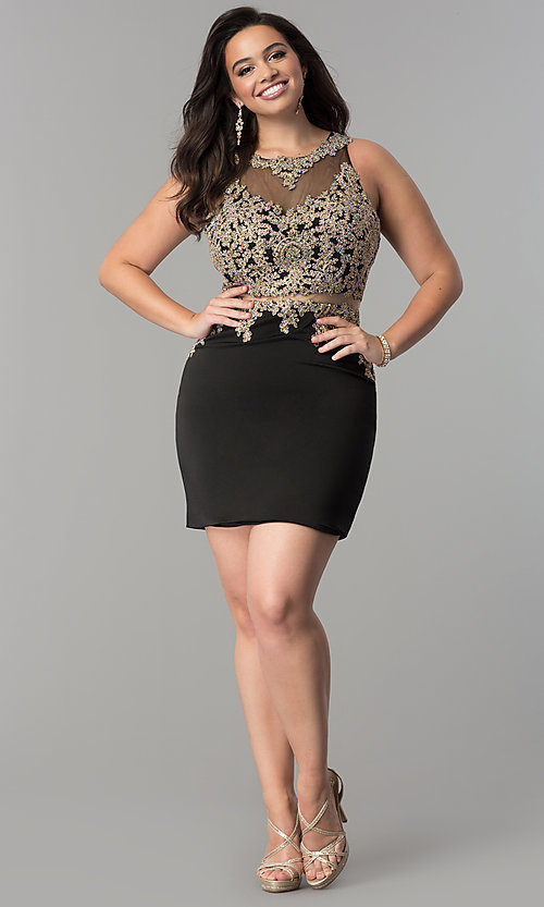 Image of mock two-piece plus-size short homecoming dress. Style: DQ-2000P Detail Image 2