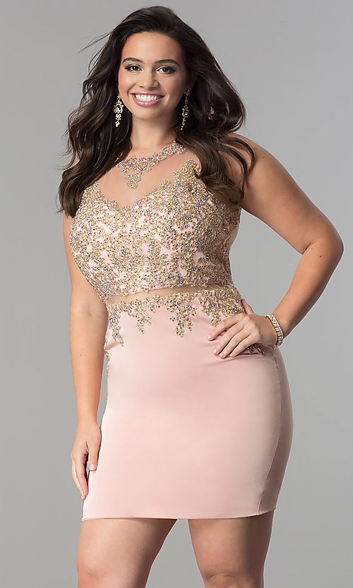 Image of mock two-piece plus-size short homecoming dress. Style: DQ-2000P Front Image