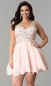 Image of plus-size illusion v-neck chiffon homecoming dress. Style: DQ-9998P Front Image