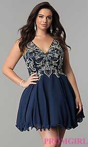 Image of plus-size illusion v-neck chiffon homecoming dress. Style: DQ-9998P Detail Image 3