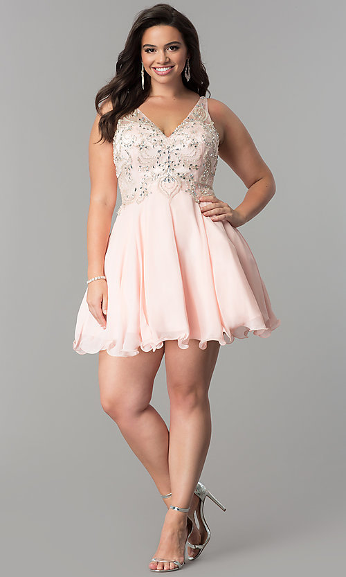 Image of plus-size illusion v-neck chiffon homecoming dress. Style: DQ-9998P Detail Image 1
