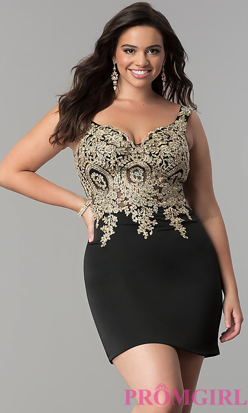 Image of off-the-shoulder short plus-size homecoming dress. Style: DQ-2001P Detail Image 1