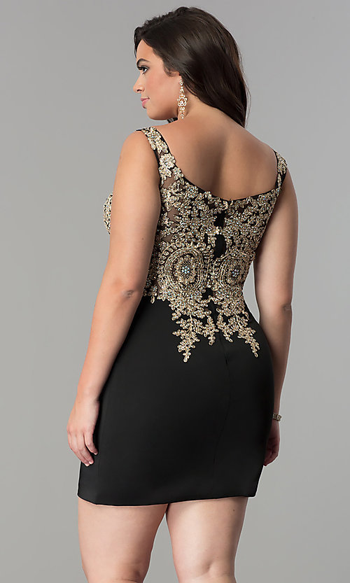 Image of off-the-shoulder short plus-size homecoming dress. Style: DQ-2001P Back Image