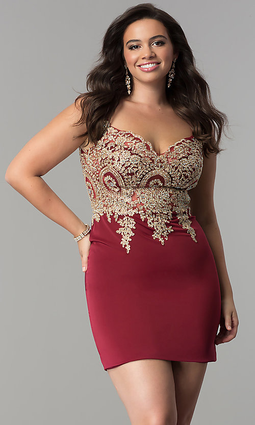 Image of off-the-shoulder short plus-size homecoming dress. Style: DQ-2001P Detail Image 3