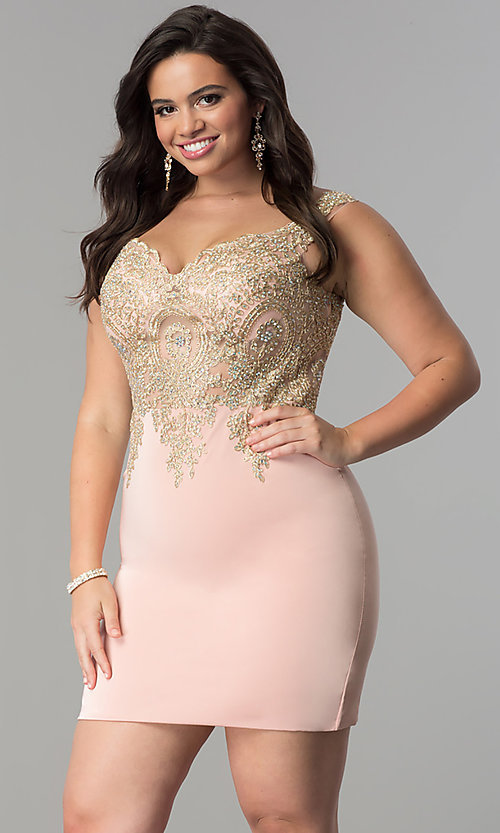 Image of off-the-shoulder short plus-size homecoming dress. Style: DQ-2001P Front Image