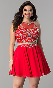 Image of mock two-piece short plus-size homecoming party dress. Style: DQ-2123P Front Image