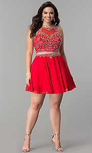 Image of mock two-piece short plus-size homecoming party dress. Style: DQ-2123P Detail Image 1