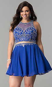 Image of mock two-piece short plus-size homecoming party dress. Style: DQ-2123P Detail Image 2