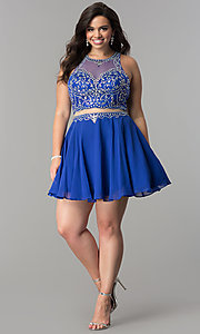 Image of mock two-piece short plus-size homecoming party dress. Style: DQ-2123P Detail Image 3