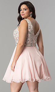 Image of short plus-size beaded v-neck chiffon party dress. Style: DQ-2118P Back Image