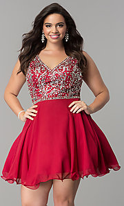 Image of short plus-size beaded v-neck chiffon party dress. Style: DQ-2118P Front Image