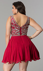 Image of short plus-size beaded v-neck chiffon party dress. Style: DQ-2118P Detail Image 5