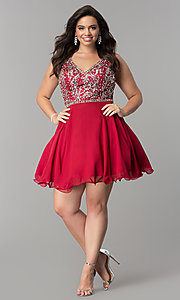 Image of short plus-size beaded v-neck chiffon party dress. Style: DQ-2118P Detail Image 8