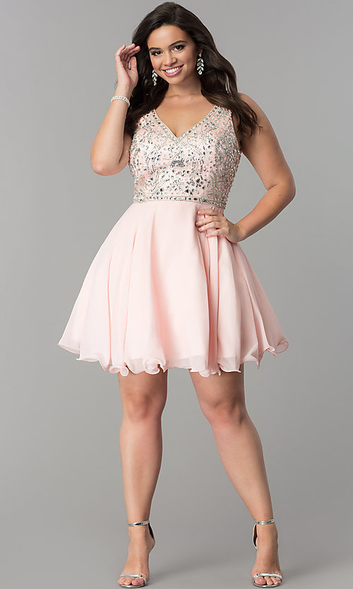 Image of short plus-size beaded v-neck chiffon party dress. Style: DQ-2118P Detail Image 3