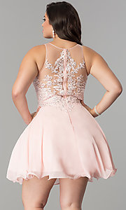 Image of illusion-lace plus-size short homecoming dress. Style: DQ-2076P Back Image