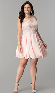 Image of illusion-lace plus-size short homecoming dress. Style: DQ-2076P Detail Image 1