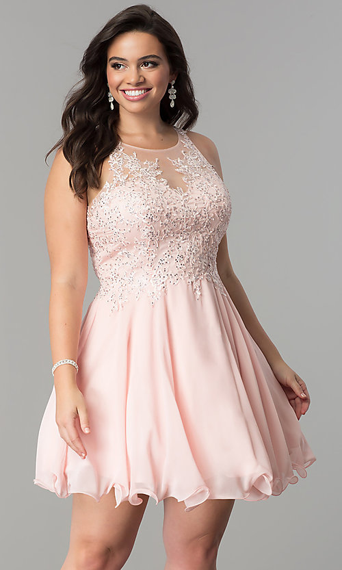Image of illusion-lace plus-size short homecoming dress. Style: DQ-2076P Front Image