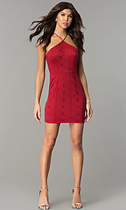 Image of dark red short lace party dress with high neck. Style: SS-D67222H579 Detail Image 2
