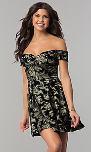 Image of short black velvet party dress with gold embroidery. Style: EM-FMU-3334-030 Front Image