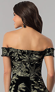 Image of short black velvet party dress with gold embroidery. Style: EM-FMU-3334-030 Detail Image 2