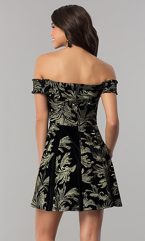 Image of short black velvet party dress with gold embroidery. Style: EM-FMU-3334-030 Back Image