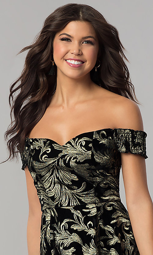 Image of short black velvet party dress with gold embroidery. Style: EM-FMU-3334-030 Detail Image 1