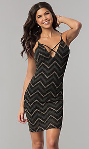 Image of short black party dress with glitter chevron stripes. Style: EM-FNG-3279-085 Front Image