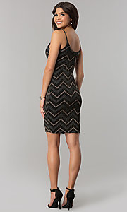 Image of short black party dress with glitter chevron stripes. Style: EM-FNG-3279-085 Back Image