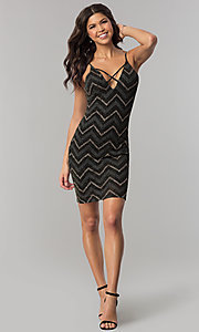 Image of short black party dress with glitter chevron stripes. Style: EM-FNG-3279-085 Detail Image 3