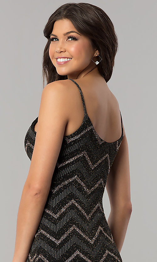 Image of short black party dress with glitter chevron stripes. Style: EM-FNG-3279-085 Detail Image 2