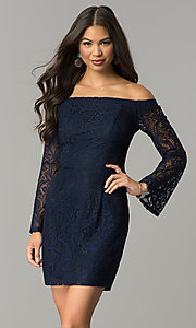 Midnight Blue Short Lace Off-the-Shoulder Party Dress