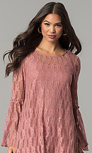Image of mauve pink short casual party dress with sleeves. Style: SS-JA30131H698 Detail Image 1