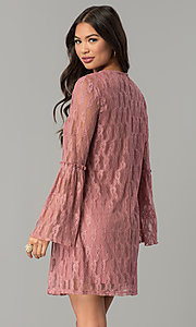Image of mauve pink short casual party dress with sleeves. Style: SS-JA30131H698 Back Image