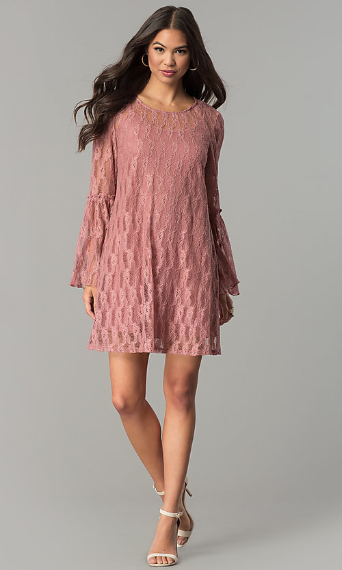 Image of mauve pink short casual party dress with sleeves. Style: SS-JA30131H698 Detail Image 2
