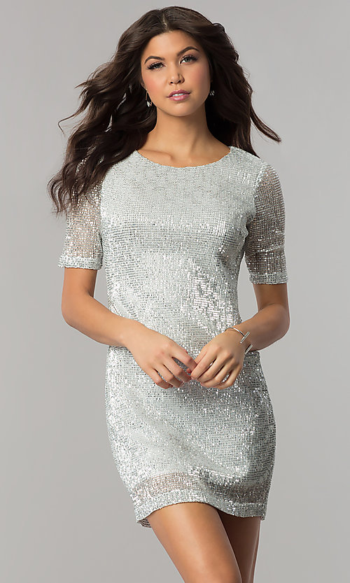 Image of short silver sequin holiday party dress with sleeves. Style: EM-FME-3313-040 Front Image