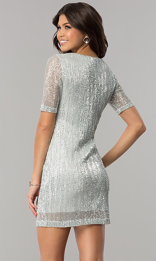 Image of short silver sequin holiday party dress with sleeves. Style: EM-FME-3313-040 Back Image