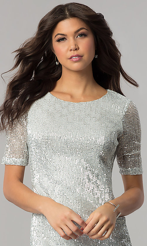 Image of short silver sequin holiday party dress with sleeves. Style: EM-FME-3313-040 Detail Image 1