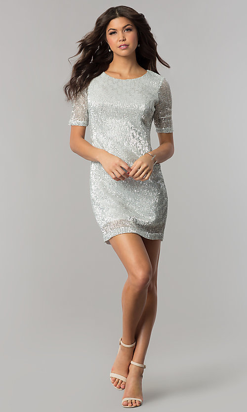 Image of short silver sequin holiday party dress with sleeves. Style: EM-FME-3313-040 Detail Image 2