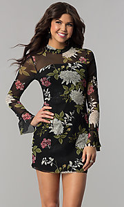 Image of long-sleeve floral-print wedding-guest party dress. Style: EM-FHB-3454-006 Front Image