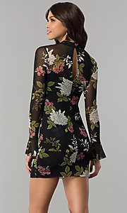Image of long-sleeve floral-print wedding-guest party dress. Style: EM-FHB-3454-006 Back Image