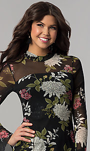 Image of long-sleeve floral-print wedding-guest party dress. Style: EM-FHB-3454-006 Detail Image 1