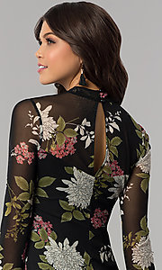 Image of long-sleeve floral-print wedding-guest party dress. Style: EM-FHB-3454-006 Detail Image 2